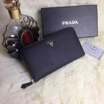 Prada Saffiano Leather Large Zippy Wallets Black