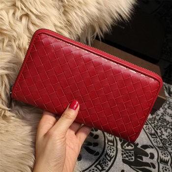 Bottega Veneta Intrecciato Nappa Zip Around Wallets 114073 Red
