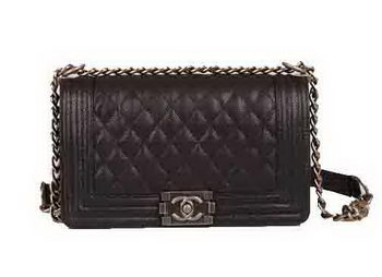 Boy Chanel Flap Shoulder Bags Black Cannage Pattern Leather A67086 Silver