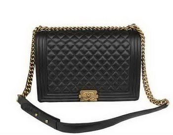 Chanel Boy Flap Shoulder Bag Original Black Sheepskin Leather A67087 Gold