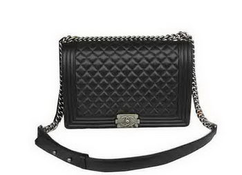 Chanel Boy Flap Shoulder Bag Original Black Sheepskin Leather A67087 Silver