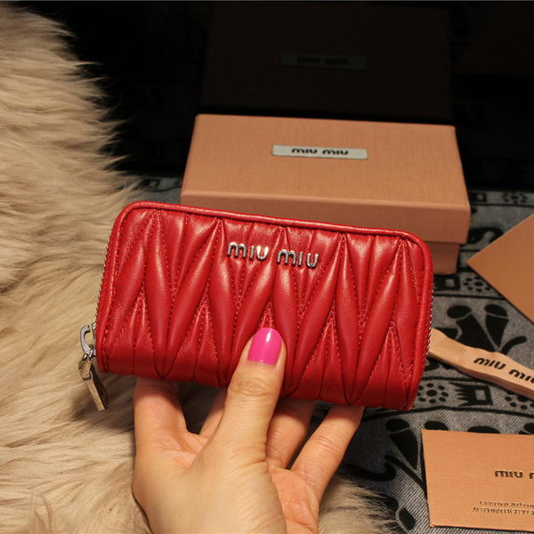 miu miu Matelasse Nappa Leather Keychain M1038 Red