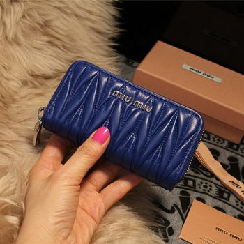 miu miu Matelasse Nappa Leather Keychain M1038 Royal