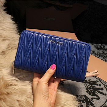 miu miu Matelasse Nappa Leather Wallet 5M1033 Royal