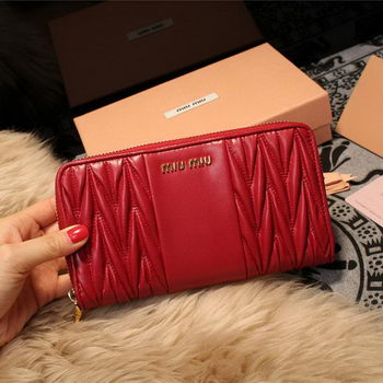 miu miu Matelasse Nappa Leather Wallet 5M2064 Burgundy