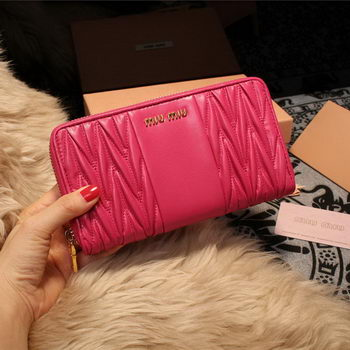 miu miu Matelasse Nappa Leather Wallet 5M2064 Rose