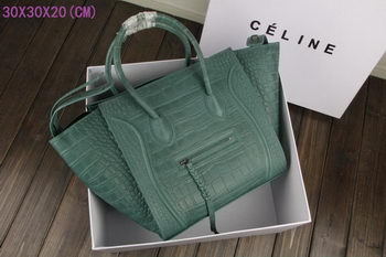 Celine Luggage Phantom Tote Bag Croco Leather CT3341 Green