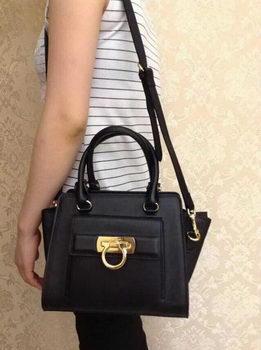 Ferragamo Shoulder Tote Bag Calfskin Leather 588473 Black