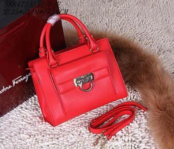 Ferragamo Shoulder Tote Bag Calfskin Leather 588473 Red