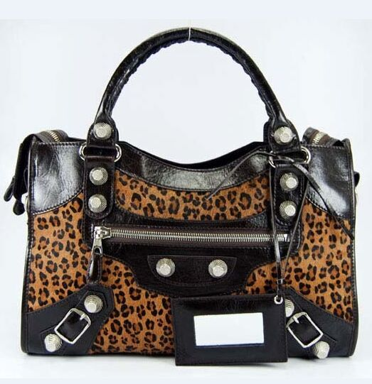 Balenciaga 084332 Dark Coffee Leopard Horsehair Bag