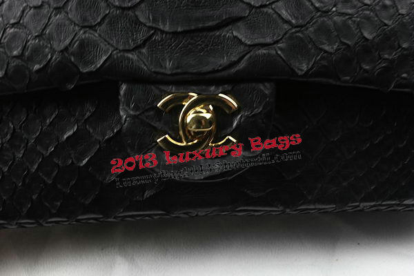 Chanel 2.55 Series Flap Bags Original Snake Leather A1112 Black