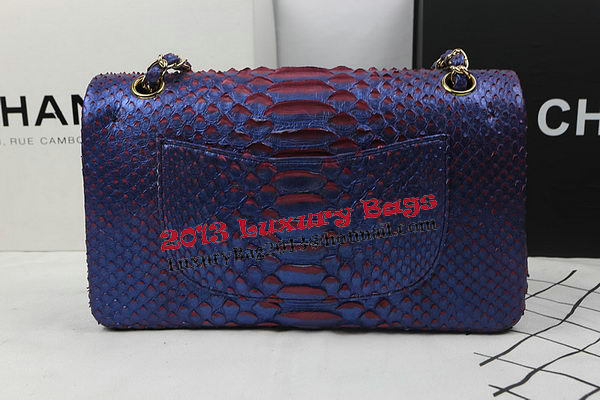 Chanel 2.55 Series Flap Bags Original Snake Leather A1112 Blue