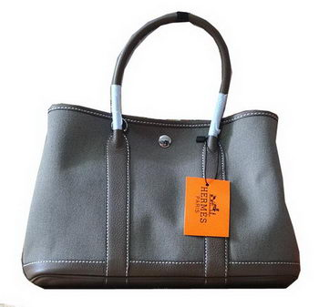 Hermes Garden Party 30cm Tote Bags Original Leather Grey