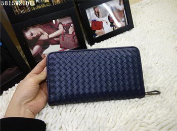 Bottega Veneta Intrecciato Calfskin Zip Around Wallet BV5815 Blue