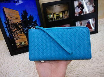 Bottega Veneta Intrecciato Nappa Zip Around Wallet BV5800 Blue