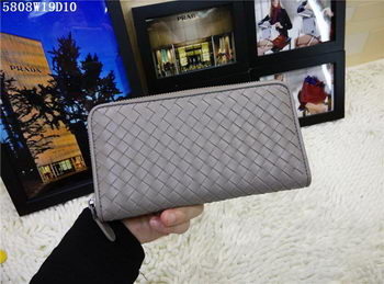 Bottega Veneta Intrecciato Nappa Zip Around Wallet BV5808 Grey