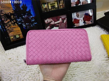 Bottega Veneta Intrecciato Nappa Zip Around Wallet BV5808 Pink