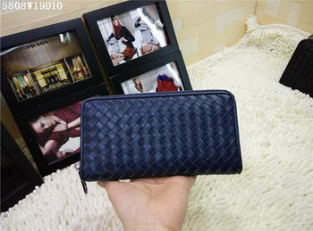 Bottega Veneta Intrecciato Nappa Zip Around Wallet BV5808 Royal