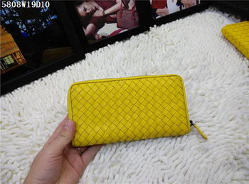 Bottega Veneta Intrecciato Nappa Zip Around Wallet BV5808 Yellow