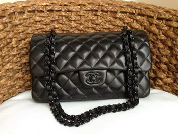 Chanel 2.55 Series Flap Bag Original Lambskin Leather A1112 Black