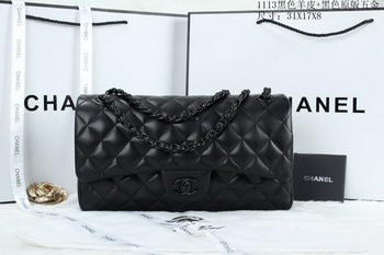 Chanel Classic Flap Bag Sheepskin Leather A1113 Black