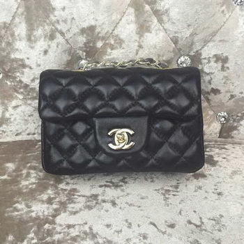 Chanel Classic MINI Flap Bag Sheepskin Leather A1115 Black