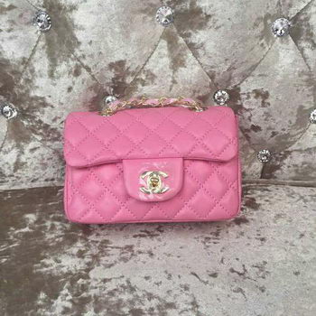 Chanel Classic MINI Flap Bag Sheepskin Leather A1115 Pink
