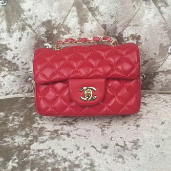 Chanel Classic MINI Flap Bag Sheepskin Leather A1115 Red