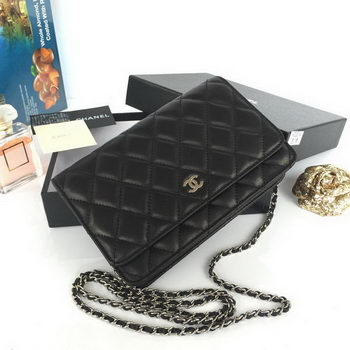 Chanel mini Flap Bag Black Original Sheepskin A33814 Silver