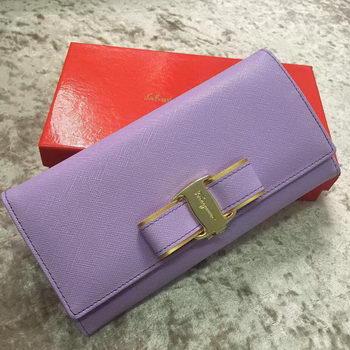 Ferragamo Continental Wallet Calfskin Leather SF30200 Lavender