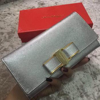 Ferragamo Continental Wallet Calfskin Leather SF30200 Silver