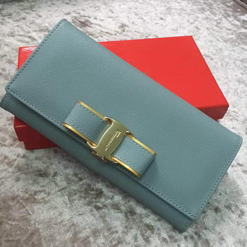 Ferragamo Continental Wallet Calfskin Leather SF30200 SkyBlue
