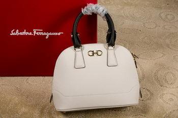 Ferragamo Medium Double Gancio Tote Bag 21E703 White