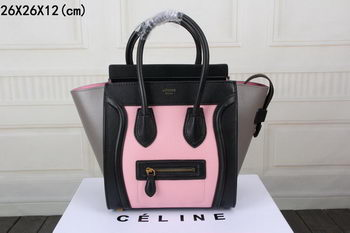 Celine Luggage Micro Boston Bag Original Leather CT33081 Pink&Black&Grey