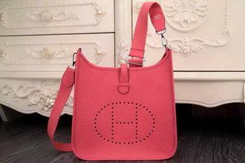 Hermes Evelyne 28cm Messenger Bag Original Leather H1188 Dark Pink