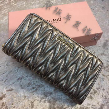 miu miu Matelasse Nappa Leather Wallet MM30150 Grey