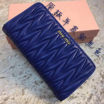 miu miu Matelasse Nappa Leather Wallet MM30150 Royal