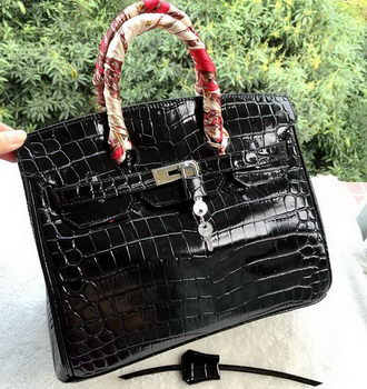 Hermes Birkin 30CM Tote Bags Croco Leather H30CO Black
