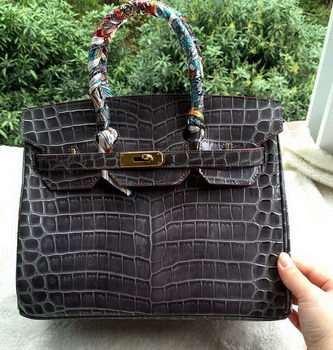 Hermes Birkin 30CM Tote Bags Croco Leather H30CO Grey