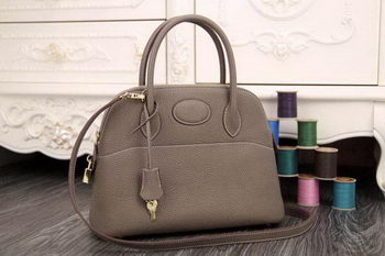 Hermes Bolide 31CM Original Leather Tote Bag Grey