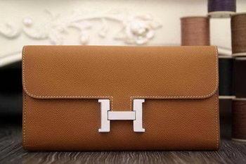 Hermes Constance Long Wallets Original Leather HA909 Wheat
