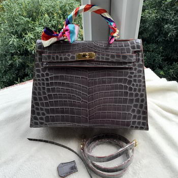 Hermes Kelly 32cm Shoulder Bag Croco Leather K32CO Grey