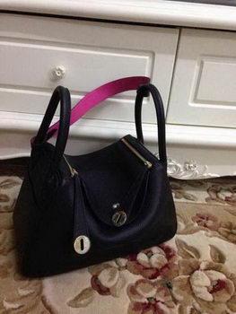 Hermes Lindy 30CM Black Leather Shoulder Bag HLD30 Gold