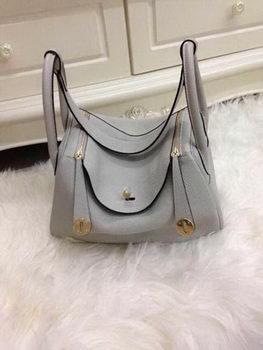 Hermes Lindy 30CM Grey Leather Shoulder Bag HLD30 Gold