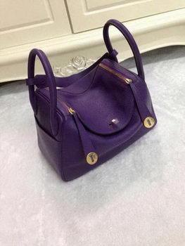 Hermes Lindy 30CM Purple Leather Shoulder Bag HLD30 Gold
