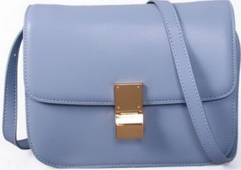 Celine Classic Box Small Flap Bag Smooth Leather C88007C SkyBlue