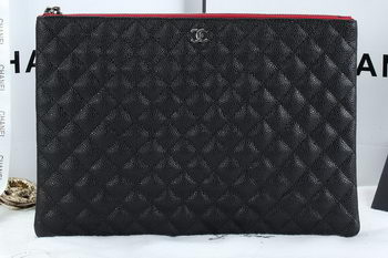Chanel A6952 Clutch Bag Cannage Pattern Leather Black