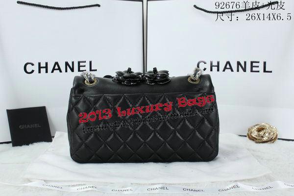 Chanel Classic Flap Camellia Bag Patent Leather A92676 Black