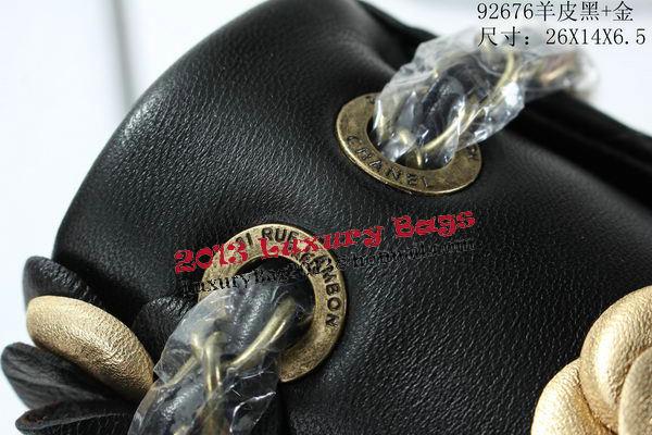 Chanel Classic Flap Camellia Bag Sheepskin Leather A92676 Black