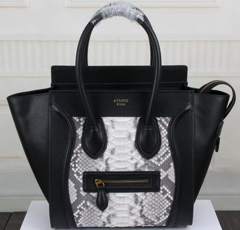 Celine Luggage Micro Boston Bag Snake Leather CT3308M Black&White